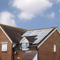 Solar Panels on House Roof Stock Image