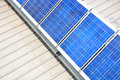 Solar panels house roof installed with power Royalty Free Stock Images