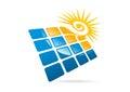 Solar panels logo, swirl sun and square modern business symbol icon