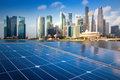 Solar Panels In The Modern City. Royalty Free Stock Photo