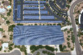Solar panels on parking structures as viewed from overhead Royalty Free Stock Photo