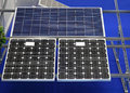 Solar panels photovoltaic cell modules mounted at rails Stock Photos