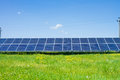 Solar panels produces green environmentally friendly energy from the sun Royalty Free Stock Photos