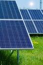 Solar panels produces green environmentally friendly energy from the sun Stock Photos