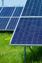 Solar panels produces green environmentally friendly energy from the sun Royalty Free Stock Image