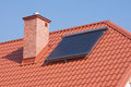 Solar panels renewable energy on the roof a private house Stock Photo