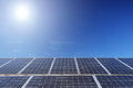 Solar photovoltaic cell panels under sun view of a Stock Photo
