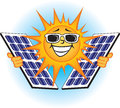 Solar photovoltaic panels illustration of a bright sun holding Royalty Free Stock Photography