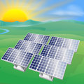 Solar power energy illustration of a panel photovoltaic cells generating and electricity Royalty Free Stock Images