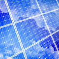 Solar power panel & blue sky Royalty Free Stock Photos