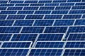 Solar power plant many rows of large panels in a Royalty Free Stock Photos
