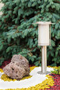 Solar powered lamp on garden background selective focus Royalty Free Stock Photos