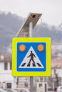 Solar powered street sign warning Royalty Free Stock Images
