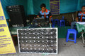 Solar powered vocational school students prepare for sound system in the city of solo central java indonesia Stock Photos