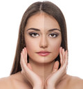 Solar protection close up of beautiful caucasian woman face before and after tan Stock Image
