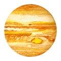 Solar System Planets - Jupiter. Watercolor illustration.