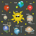 Solar system in space for kids, card concept. Royalty Free Stock Photography