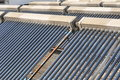 Solar water heater system commercial heaters on hotel roof Stock Image