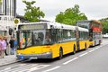 Solaris urbino berlin germany september yellow articulated city bus of the berliner verkehrsbetriebe bus company at the city Stock Photography