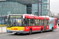 Solaris urbino berlin germany september yellow articulated city bus at the city street Stock Photography