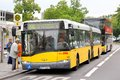 Solaris urbino berlin germany september yellow articulated city bus at the city street Royalty Free Stock Photo