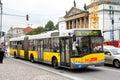 Solaris urbino berlin september articulated bus of berliner verkehrsbetriebe bus company at friedrichstra e street Stock Photo