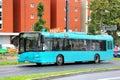 Solaris urbino frankfurt am main germany september cyan city bus at the city street Stock Images