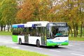 Solaris urbino szczecin poland august white and green city bus at the city street Royalty Free Stock Images
