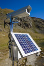 Solarpanel and webcam in the alps Royalty Free Stock Photo