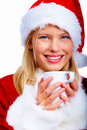 Solated christmas woman enjoying chocolate Royalty Free Stock Photography
