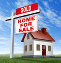 Sold Home For Sale Sign And House Stock Photo