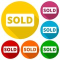 Sold icons set with long shadow Royalty Free Stock Photo