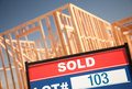 Sold Lot Sign at New Home Construction Site Royalty Free Stock Photography