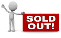 Sold out banner little man holding of stock notification Stock Photo