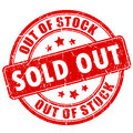 Sold out rubber business stamp Royalty Free Stock Photo
