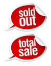 Sold out, total sale stickers. Royalty Free Stock Photography