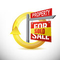 Sold property design concept illustration over white Stock Image
