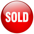sold red round gel isolated button