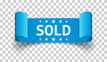 Sold ribbon vector icon. Discount, sale sticker label on isolate Royalty Free Stock Photo
