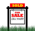 Sold for sale real estate sign Stock Photography