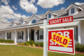 Sold Short Sale Real Estate Sign and House - Right Royalty Free Stock Photo