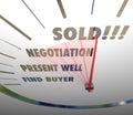 Sold Speedometer Words Negotiate Present Find Buyer Selling Proc