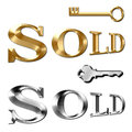 Sold text for realtor keys in gold and silver metal real estate sales with Stock Photos