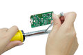 Soldering iron with tin on a white background. Royalty Free Stock Photo