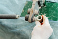 Soldering plastic pipe. Royalty Free Stock Photo