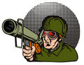 Soldier aiming  a bazooka Royalty Free Stock Images