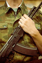 Soldier with ak assault rifle closeup shot of Stock Image