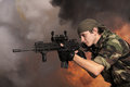 Soldier with an automatic assault rifle portrait of the Royalty Free Stock Photography