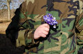 Soldier camouflage hand violet flowers girlfriend in wear hold in picked for his wife back from army Royalty Free Stock Image