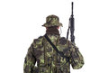 Soldier in camouflage and modern weapon m isolated on white background Royalty Free Stock Photography